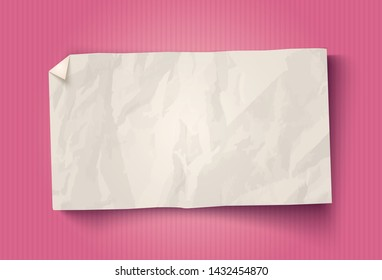 Vector vintage white paper on pink vintage background. White paper ad on old paper background. White paper texture.
