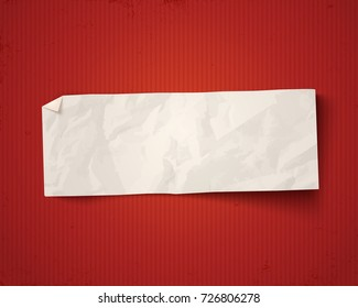 Vector vintage white paper on red vintage background. White paper ad on old paper background.