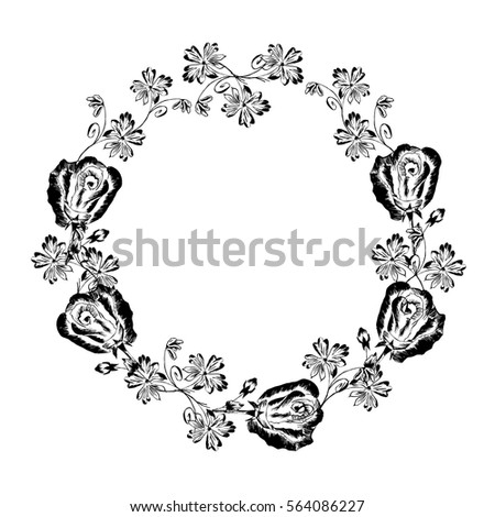vector vintage wreath hand draw flowers stock vector royalty free