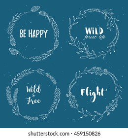 Vector vintage wreaths with hand draw  flowers, herbs.Tribal, boho, ethnic design elements. Perfect for invitations, greeting cards, quotes, blogs, posters.