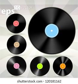 Vector vinyl cd disk icons, eps10 illustration clip art