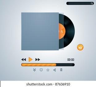 Vector vinyl disk in envelope music player template