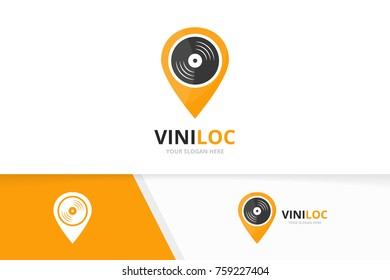 Vector vinyl and map pointer logo combination. Record and gps locator symbol or icon. Unique music album and pin logotype design template.