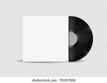 Vector vinyl mock up with cover on transpaernt background.