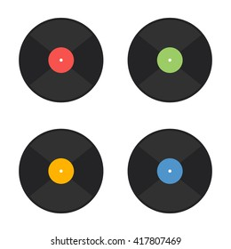 Vector vinyl record icons. Flat style vector illustration. Mucis concept