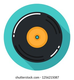 Vector vinyl record music icon. Illustration of vintage music plate in flat style.