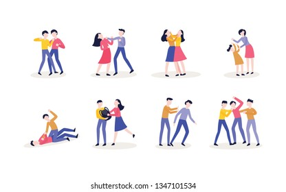 Vector violence, bulling and physical conflicts of teen male, female students, characters using fists to punch, pulling each other hair out, kicking person while his down.