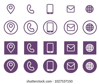 Vector violet business card contact information icons