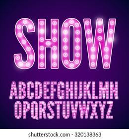 Vector violet pink neon lamp cinema font