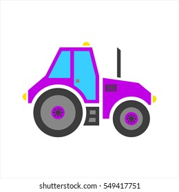 Vector violet tractor with exhaust and lights isolated on white background.