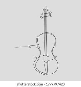 Vector violin line art for -logo, -poster, flyer design