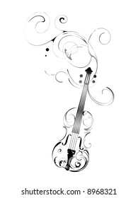 vector violin with pattern and decorations