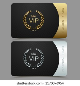 Vector VIP golden and platinum card. Black geometric pattern background with crown laurel wreath. Luxury design for vip member.