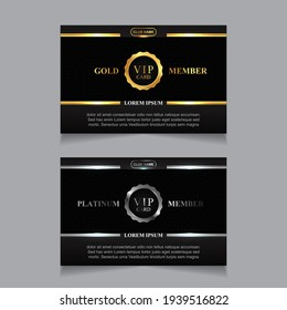 Vector VIP golden and platinum card. Black geometric pattern background with premium design. Luxury and elegant graphic template layout for vip member