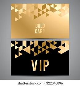 Vector VIP premium invitation cards. Black and golden design. Triangle decorative patterns.