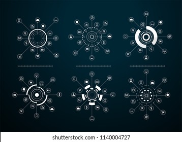 Vector virtual icons network diagram Sci fi futuristic user interface