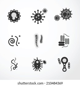 vector virus  icons black colour.