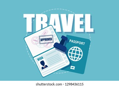 Vector of a visa stamp in passport. Travel and documents requirements concept.