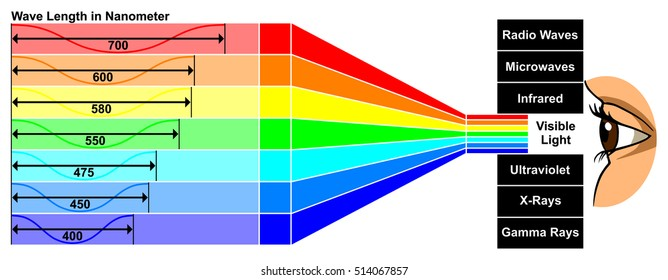 Vector Visible Light with wave length difference between spectra colors which give different properties human eye can see white color spectrum which composed of all colors of rainbow