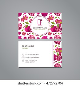 Vector visit card template with pattern pomegranate and flower