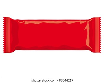 Vector visual of red flow wrap plastic foil packet, packaging or wrapper for biscuit, wafer, crackers, sweets, chocolate bar, candy bar, snacks etc