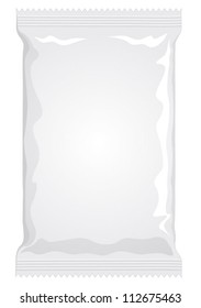Vector visual of white or clear plain flow wrap plastic film or foil packet, packaging or wrapper for food - pasta, biscuit, wafer, crackers, sweets, chocolate bar, candy bar, snacks etc