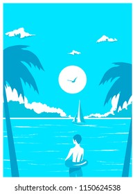 vector vitage poster of a boy on the tropical beach, blue ocean with yacht and cloudy sky