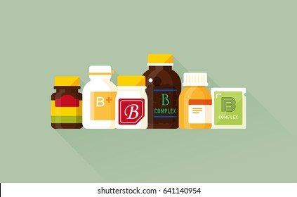 vector vitamin b product collection / brown glass, plastic bottle, zipper bag / health care concept