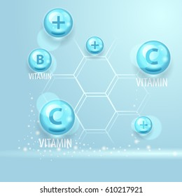 Vector vitamins and elements. Medical realistic concept.