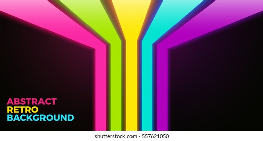 Vector vivid bright background with colorful neon lines. Five different colors, nice 3d effect. Ready to use in retro cover design or poster artwork.