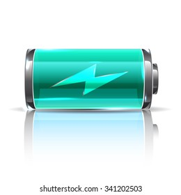 Vector vivid mint color battery, full charge with lighting. Realistic illustration for energy project