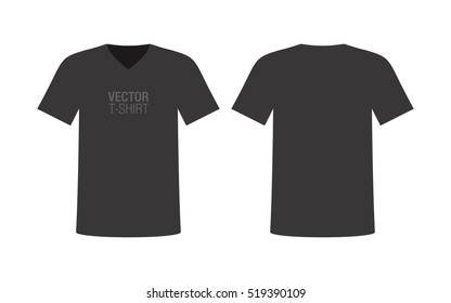 Vector V-neck T-shirt mockup. Men's black short sleeve T-shirt template. Front and rear sides.
