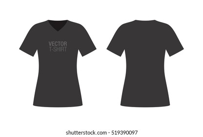 Vector V-neck T-shirt mockup. Women's black short sleeve T-shirt template. Front and rear sides.