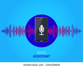 Vector voice assistant personal. Voice recognition Sound waves. Flat style.
