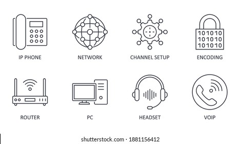 Vector Voice over IP icons. Editable stroke. IP phone router network pc channel setup configuration encoding headset multimedia VoIP
