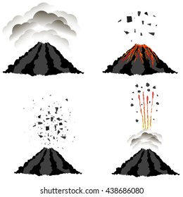 Vector Volcano Erupting Icons Isolated on White Background. Peak of Mountain. Fiery Crater of Volcano.