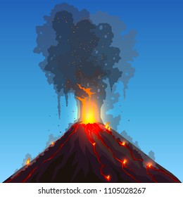 Vector volcano eruption. Hot flame and sparkles breaks out from the volcano's mouth. Dark smoke and mountain are against a blue sky. Fiery streams of lava flow down the peak. Flat polygonal design.