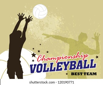 Vector Volleyball and player With Grunge Backgrounds