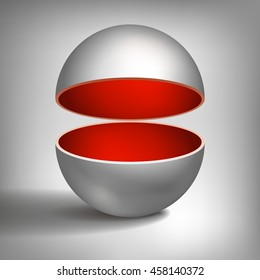 Vector volume hollow sphere, open ball, inside a red coated, abstract object for you project design