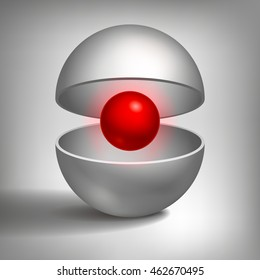 Vector volume hollow sphere, open shape, inside a red ball, abstract object for you project design