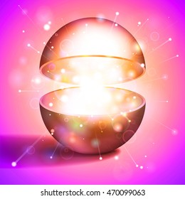Vector volume hollow sphere, open magic ball, light inside, pink abstract object for you project design