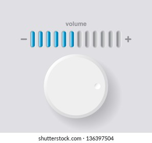 Vector volume music control / volume knob, for websites (UI) or applications (app) for smartphones or tablets. Plastic style