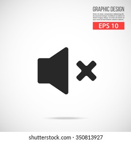 Vector volume off icon. Black mute, no sound vector icon. Simple flat design vector illustration concept for web banner, web and mobile app, infographic. Vector icon isolated on gradient background
