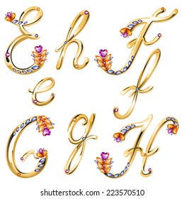 Vector volume shiny bronze alphabet with floral details from diamonds and gems, letters E,F,G,H