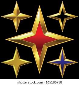 Vector volume shiny gold four-point star bulk shining