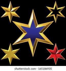 Vector volume shiny gold six-pointed star bulk shining