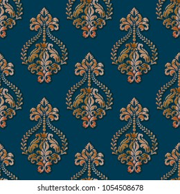 Vector volumetric damask seamless pattern background. Elegant luxury embossed texture with watercolor for wallpapers, backgrounds and page fill. 3D elements with shadows and highlights.