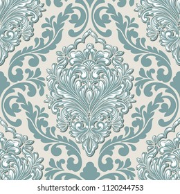 Vector volumetric damask seamless pattern element. Elegant luxury embossed texture for wallpapers, backgrounds and page fill. 3D elements with shadows and highlights