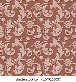 Vector volumetric flower seamless pattern background. Elegant luxury embossed texture for backgrounds, seamless texture for wallpapers. Classical floral 3d ornament with shadows and highlights.