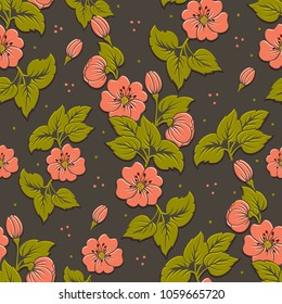 Vector volumetric flower seamless pattern element. Elegant luxury embossed texture for backgrounds, seamless texture for wallpapers. Classical floral 3d ornament with shadows and highlights.